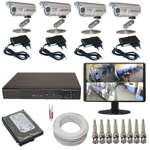 Kit Sistema de Monitoramento Completo com 04 Câmeras Gravador Dvr Monitor e Acessórios  - Tudoseg Cftv - Sistemas de Segurança Eletrônica