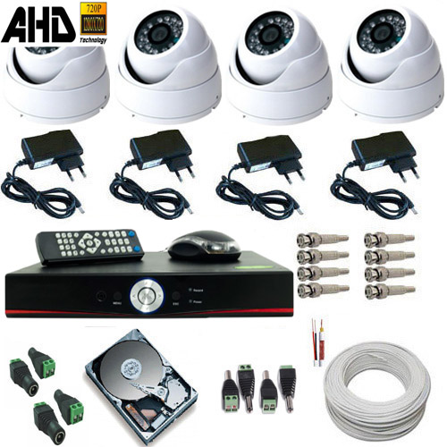 Kit 04 Câmeras de Segurança Dome Metal AHD-M 1.3 Megapixel Dvr Acesso Nuvem  - Tudoseg Cftv - Sistemas de Segurança Eletrônica