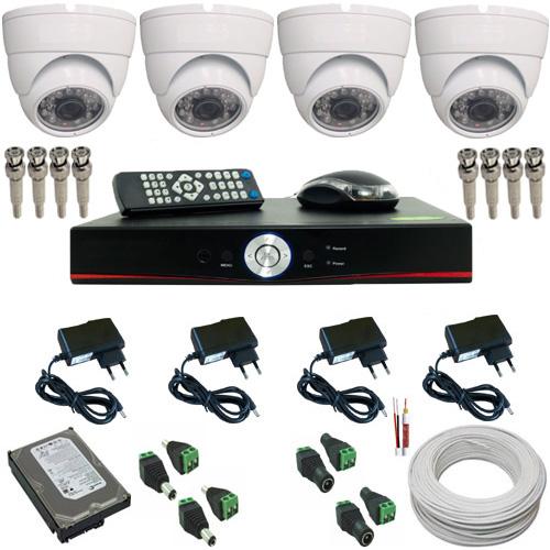Kit 04 Câmeras Monitoramento Dome 1000 Linhas com Gravador Dvr Stand Alone e Acessórios  - Tudoseg Cftv - Sistemas de Segurança Eletrônica