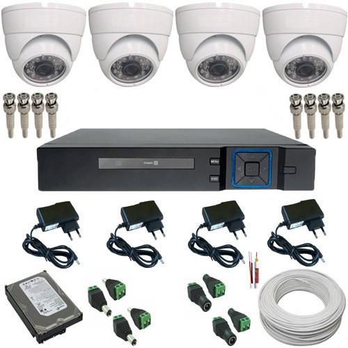 Kit 04 Câmeras Monitoramento Dome 1000 Linhas + Dvr Stand Alone Multi HD 5 em 1  - Tudoseg Cftv - Sistemas de Segurança Eletrônica