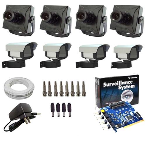 Kit 4 Câmeras de Segurança Completo Placa Geovision + Acessórios  - Tudoseg Cftv - Sistemas de Segurança Eletrônica
