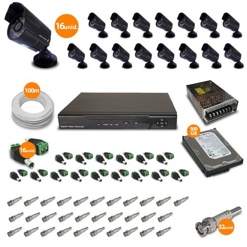 Kit 16 câmeras infravermelho 30 mts 1.000 linhas com gravador Dvr Stand Alone- Acesso pela Internet  - Tudoseg Cftv - Sistemas de Segurança Eletrônica