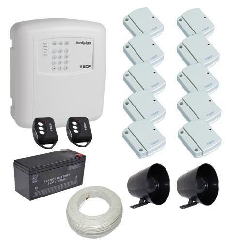 Kit alarme residencial / comercial 10 sensores de abertura sem fio com discadora telefônica- ECP  - Tudoseg Cftv - Sistemas de Segurança Eletrônica