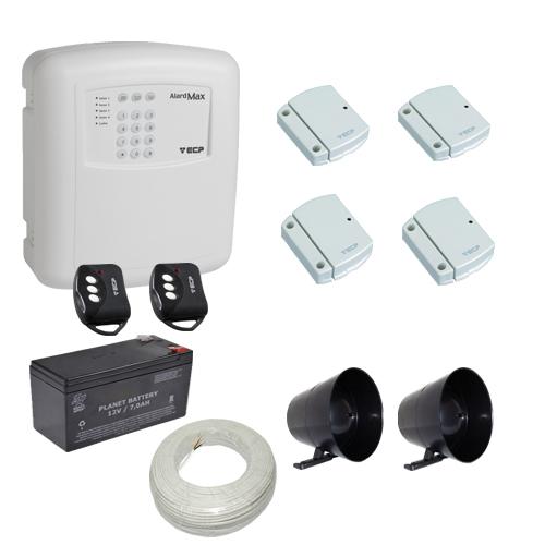 Kit alarme residencial / comercial 4 sensores de abertura sem fio com discadora telefônica- ECP  - Tudoseg Cftv - Sistemas de Segurança Eletrônica