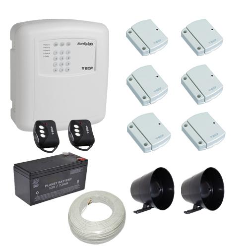 Kit alarme residencial / comercial 6 sensores de abertura sem fio com discadora telefônica- ECP  - Tudoseg Cftv - Sistemas de Segurança Eletrônica