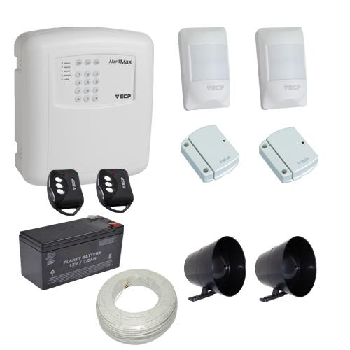 Kit alarme residencial / comercial com discadora telefônica e 4 sensores sem fio- ECP  - Tudoseg Cftv - Sistemas de Segurança Eletrônica