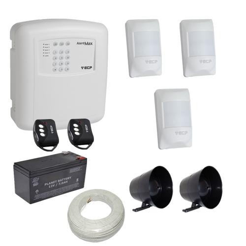 Kit alarme residencial / comercial completo 3 sensores sem fio e discadora telefônica- EC  - Tudoseg Cftv - Sistemas de Segurança Eletrônica