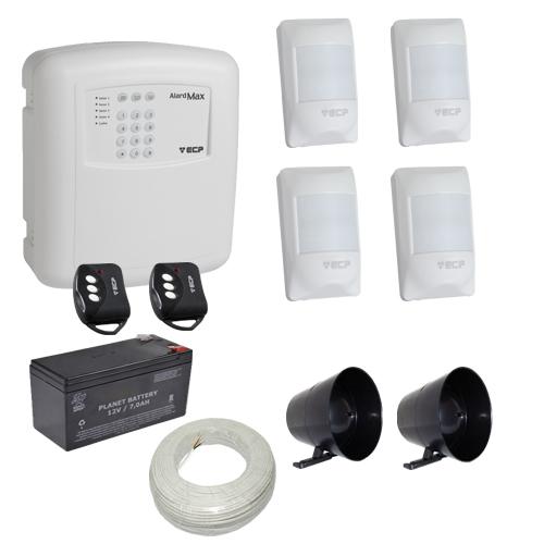 Kit alarme residencial / comercial completo 4 sensores sem fio e discadora telefônica- ECP  - Tudoseg Cftv - Sistemas de Segurança Eletrônica