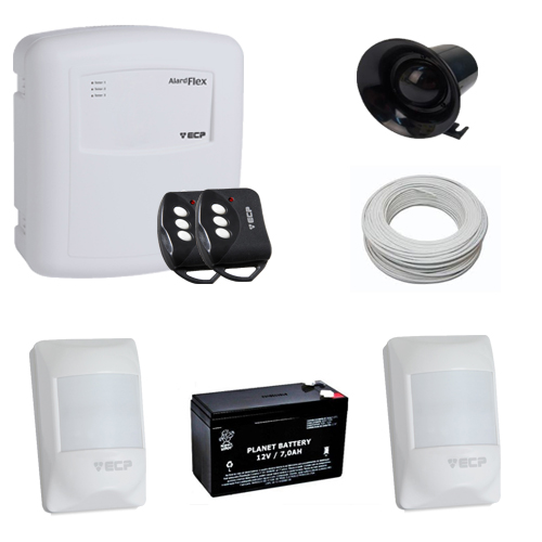 Kit Basic sistema de alarme 2 sensores de presença com fio com bateria- ECP  - Tudoseg Cftv - Sistemas de Segurança Eletrônica