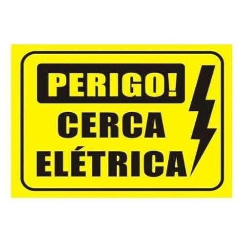 Placa de aviso para cerca elétrica 18x11cm  - Tudoseg Cftv - Sistemas de Segurança Eletrônica