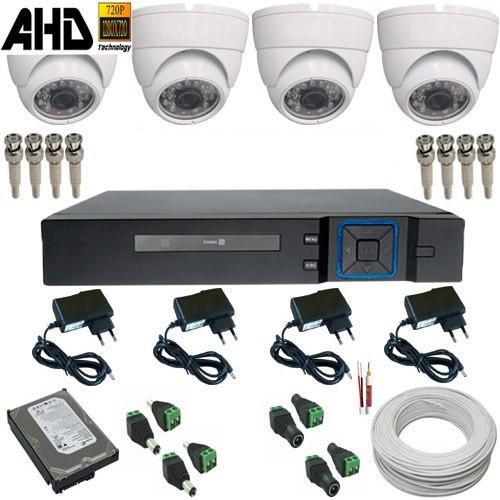 Kit 04 Câmeras Segurança Dome 1.0 MP Infravermelho 20 metros DVR Multi HD - Alta Resolução  - Tudoseg Cftv - Sistemas de Segurança Eletrônica