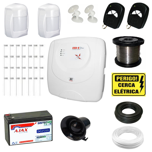 Kit Alarme Residencial 2 sensores + Cerca Elétrica 60 metros Completo- Kit 2 em 1- JFL  - Tudoseg Cftv - Sistemas de Segurança Eletrônica