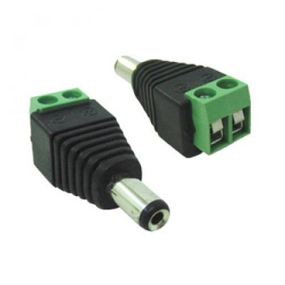 Conector P4 macho alimentação com borne para câmeras de segurança - Pacote 100 peças  - Tudoseg Cftv - Sistemas de Segurança Eletrônica