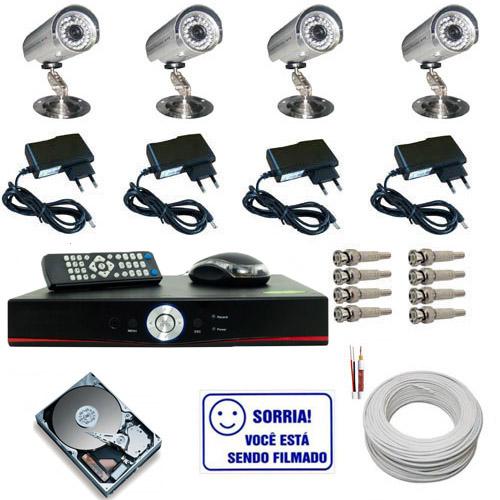 Kit Cftv 4 Câmeras de Monitoramento Infravermelho até 30 metros com Gravador Dvr Stand Alone  - Tudoseg Cftv - Sistemas de Segurança Eletrônica