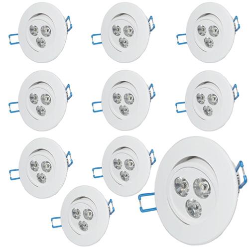 Kit 10 Lâmpadas Led 3W Dicroica Spot Direcionável Para Sanca Gesso  - Tudoseg Cftv - Sistemas de Segurança Eletrônica