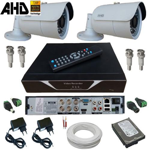 Kit Monitoramento 02 Câmeras Infravermelho 20 metros 1.0 Megapixel com Gravador - Sistema Alta Resolução  - Tudoseg Cftv - Sistemas de Segurança Eletrônica