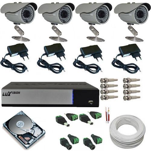 Kit 4 Câmeras de Monioramento Infravermelho 800 linhas Dvr Luxvision AHD Acesso Nuvem e Acessórios  - Tudoseg Cftv - Sistemas de Segurança Eletrônica