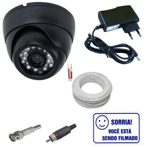 Kit Câmera Dome Infravermelho 1000 linhas + Cabo + Fonte + Conectores + Brinde  - Tudoseg Cftv - Sistemas de Segurança Eletrônica