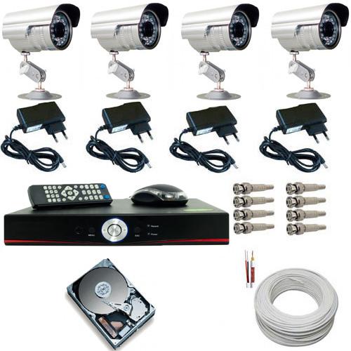 Kit Completo 04 Câmeras Infravermelho Gravador Dvr Stand Alone HD 160GB Acessórios - Acesso Celular  - Tudoseg Cftv - Sistemas de Segurança Eletrônica