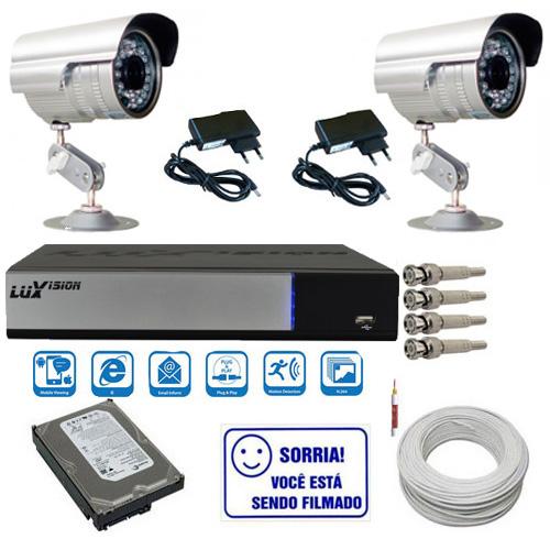 Kit 2 Câmeras Segurança Infravermelho Dvr Stand Alone Luxvision Acesso Nuvem P2P  - Tudoseg Cftv - Sistemas de Segurança Eletrônica