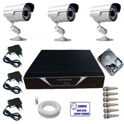 Kit Sistema de Monitoramento Completo 3 Câmeras Segurança Infravermelho HD 160 GB  - Tudoseg Cftv - Sistemas de Segurança Eletrônica