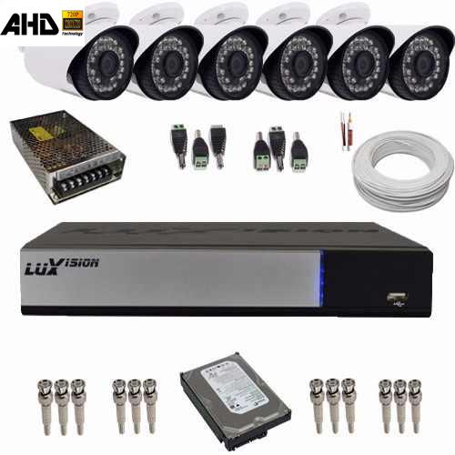Kit Vigilância 06 Câmeras AHD 1.3 Megapixel Gravador DVR Luxvision 8 Canais AHD-M Acesso Internet e Celular  - Tudoseg Cftv - Sistemas de Segurança Eletrônica