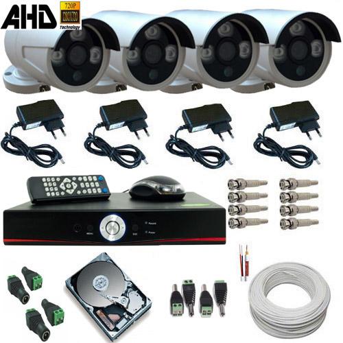 Kit 04 Câmeras Segurança AHD-M 1.3 Megapixel Infravermelho Array Gravador Dvr HD 500G e Acessórios - Alta Definição  - Tudoseg Cftv - Sistemas de Segurança Eletrônica