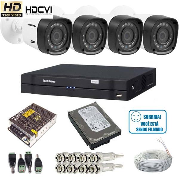 Kit 04 Câmeras VHD 1010B HDCVI Intelbras Gravador DVR 04 Canais 1004 HDCVI Intelbras HD 500GB Acesso via Internet  - Tudoseg Cftv - Sistemas de Segurança Eletrônica