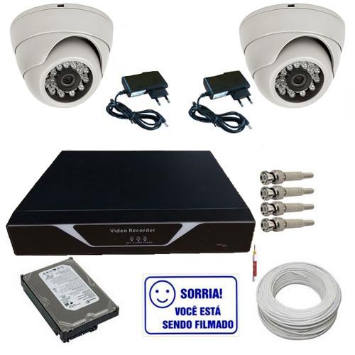 Kit Completo 02 Câmeras Dome 1000 linhas Dvr 04 Canais HD 160Gb Acessórios  - Tudoseg Cftv - Sistemas de Segurança Eletrônica