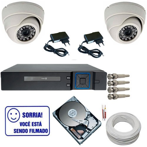 Kit Completo 02 Câmeras Dome 1000 linhas Dvr Multi HD 4 Canais HD 160Gb Acessórios  - Tudoseg Cftv - Sistemas de Segurança Eletrônica