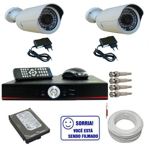 Kit 2 Câmeras Infravermelho 1.200 linhas Ircut Dvr 4 Canais HD 160gb e Acessórios  - Tudoseg Cftv - Sistemas de Segurança Eletrônica