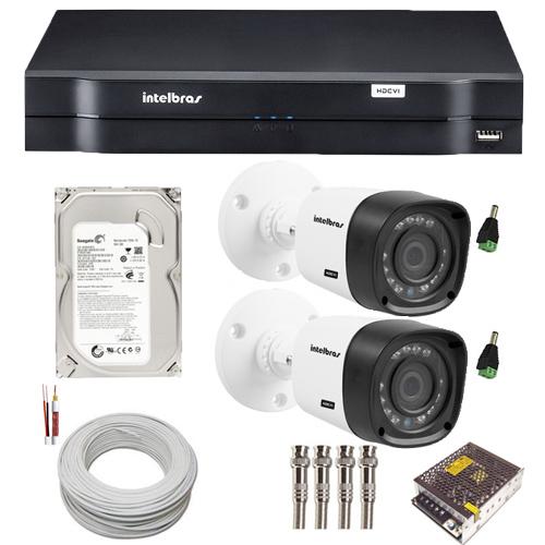 Kit 02 Câmeras Segurança Intelbras Multi HD 720P Dvr 4 Canais HD 500GB Acessórios  - Tudoseg Cftv - Sistemas de Segurança Eletrônica