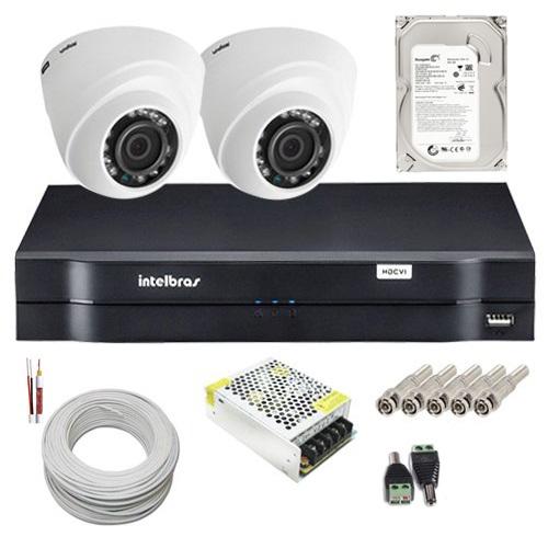 Kit Intelbras 02 Câmeras Dome Multi HD 1010D Dvr 4 Canais HD 500g e Acessórios  - Tudoseg Cftv - Sistemas de Segurança Eletrônica