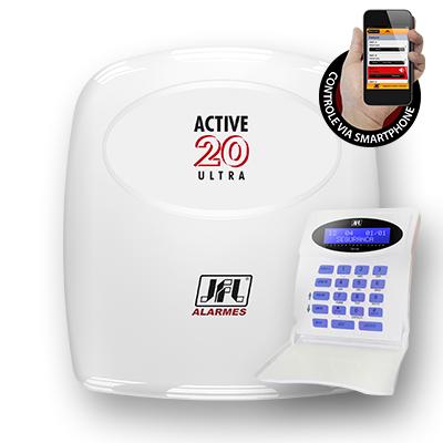 Central de Alarme Monitorada JFL Active 20 Ultra com Teclado - Acesso via Aplicativo  - Tudoseg Cftv - Sistemas de Segurança Eletrônica