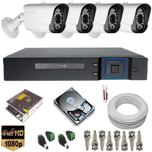 Kit cftv com 4 Câmeras Full HD 1080p resolução de imagem 2.0 MegapixeL Hibrida 4 em 1 + DVR Stand Alone  - Tudoseg Cftv - Sistemas de Segurança Eletrônica