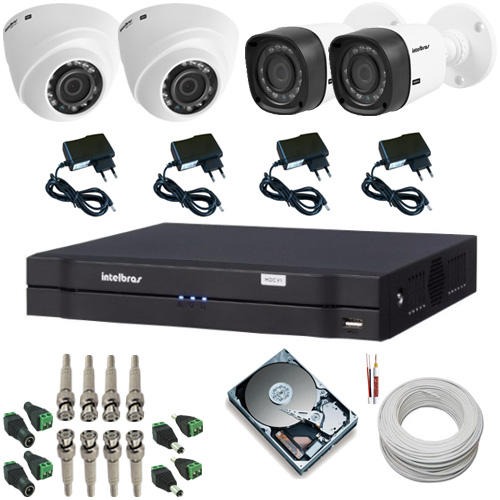 Sistema de Segurança com 2 Câmeras Intelbras dome 1010D 1.0 MP 2 Câmeras Intelbras bullet 1010B 1.0 MP + DVR Intelbras  - Tudoseg Cftv - Sistemas de Segurança Eletrônica