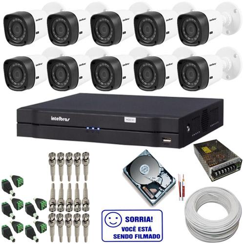 Kit de Monitoramento com 10 Câmeras intelbras 1010B Bullet 1.0 Megapixel + DVR intelbras 16 canais  - Tudoseg Cftv - Sistemas de Segurança Eletrônica