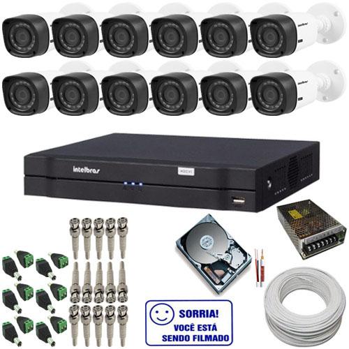 kit de 12 Câmeras HDCVI 1010B Intelbras 1.0 Megapixel 12 Leds Infravermelho DVR Intelbras 16 canais  - Tudoseg Cftv - Sistemas de Segurança Eletrônica