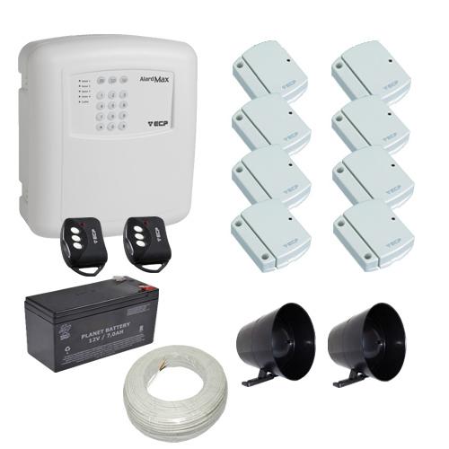 Kit de Alarme com 1 Central ECp Max com Discadora 8 Sensores Magnéticos sem fio ECP + 2 Sirenes  - Tudoseg Cftv - Sistemas de Segurança Eletrônica