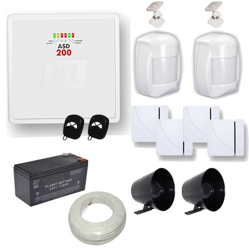 Kit de Alarme JFL 1 Central ASD 200 com 2 Zonas Mistas Inteligentes + Sensores Magnéticos e Presença  - Tudoseg Cftv - Sistemas de Segurança Eletrônica