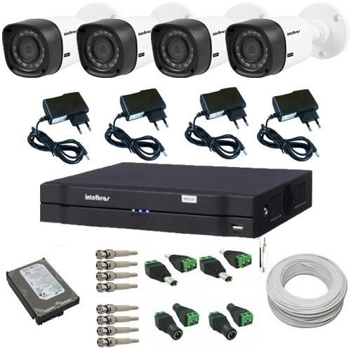 Kit Intelbras com 4 Câmeras Multi HD 1120B 1.0 Mp 720p de resolução + DVR Multi HD  - Tudoseg Cftv - Sistemas de Segurança Eletrônica