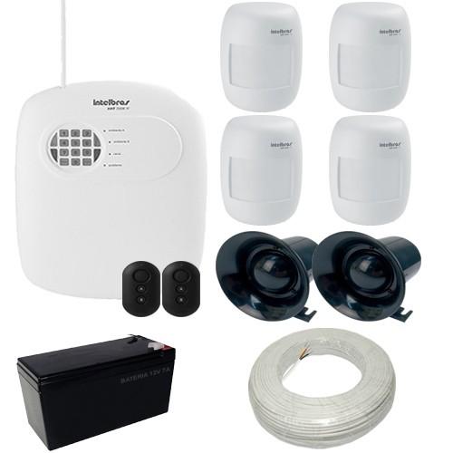 Kit Alarme Intelbras 1 Central AMT 2008 Discadora 4 Sensores de Presença IVP 2000 SF  - Tudoseg Cftv - Sistemas de Segurança Eletrônica