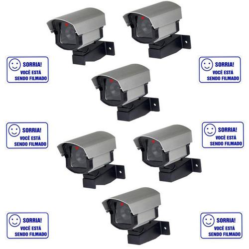 Kit 06 Câmeras de Segurança Falsas com led bivolt em alumínio + 06 Placas de Aviso  - Tudoseg Cftv - Sistemas de Segurança Eletrônica