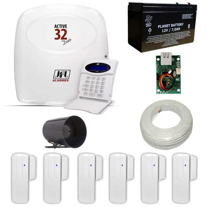 Alarme JFL com Central Active 32 DUO Com Módulo Ethernet + 6 Sensores Magnéticos JFL Sem Fio  - Tudoseg Cftv - Sistemas de Segurança Eletrônica
