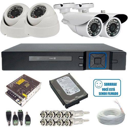 Kit 04 Câmeras de Segurança Alta Resolução AHD 720p Infravermelho DVR Stand Alone 4 Canais Acesso Via Internet  - Tudoseg Cftv - Sistemas de Segurança Eletrônica