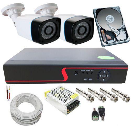 Kit 2 Câmeras de Segurança Infravermelho AHD 1.3 Megapixel 720p DVR 4 Canais - Acesso Nuvem  - Tudoseg Cftv - Sistemas de Segurança Eletrônica