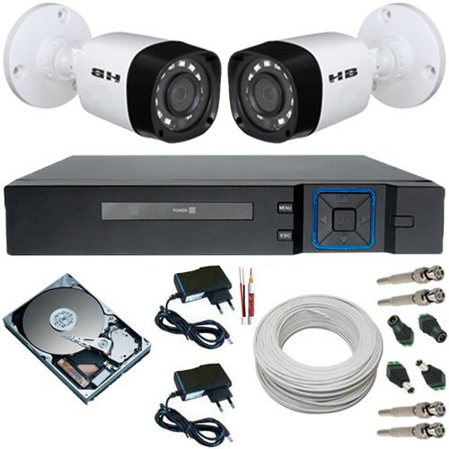 Kit 2 Câmeras Híbridas 4 em 1 Infravermelho 720p 1 Megapixel + DVR 4 Canais Multi HD  - Tudoseg Cftv - Sistemas de Segurança Eletrônica