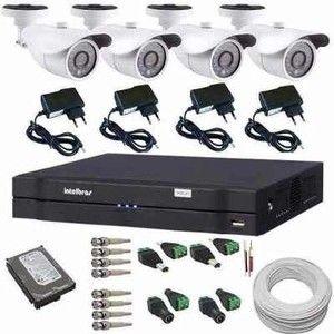 Kit 4 Câmeras de Monitoramento 1200 linhas Ircut com Gravador Dvr Stand Alone Intelbras  - Tudoseg Cftv - Sistemas de Segurança Eletrônica