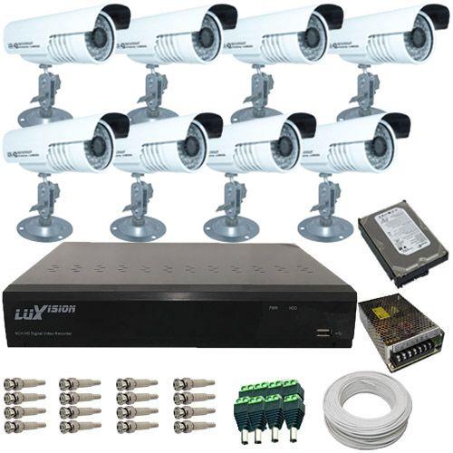 Kit 8 Câmeras de Segurança Infravermelho com Gravador Dvr Stand Alone Luxvision e Acessórios Completo- Acesso Internet  - Tudoseg Cftv - Sistemas de Segurança Eletrônica