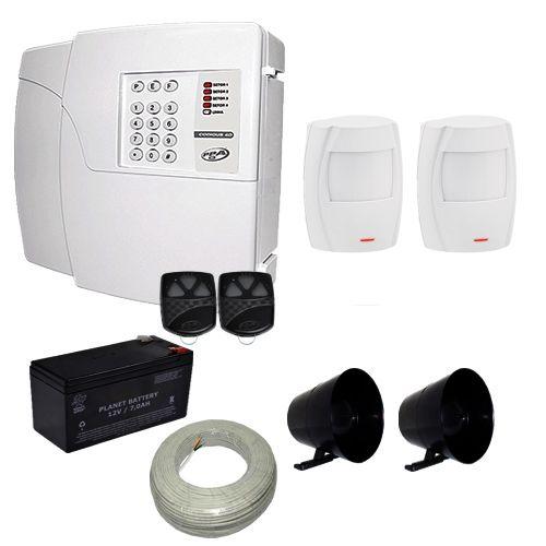 Kit de Alarme Básico PPA Central 4 Setores Com Discadora + 2 Sensores Infravermelho Smat Solid  - Tudoseg Cftv - Sistemas de Segurança Eletrônica